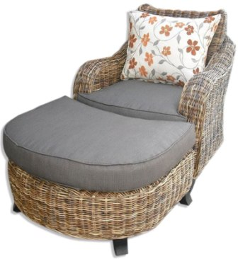 Thick Rattan Club Seat and Ottoman