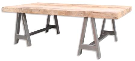 Recycled Teak Trestle Leg Table