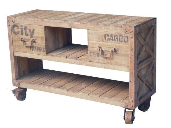 Pallet Console- 2 Drawers With Wheels