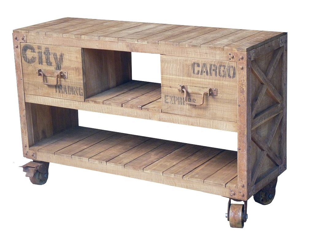 Pallet Console 2 Drawers With Wheels Consoles Industrial  # Console Palette