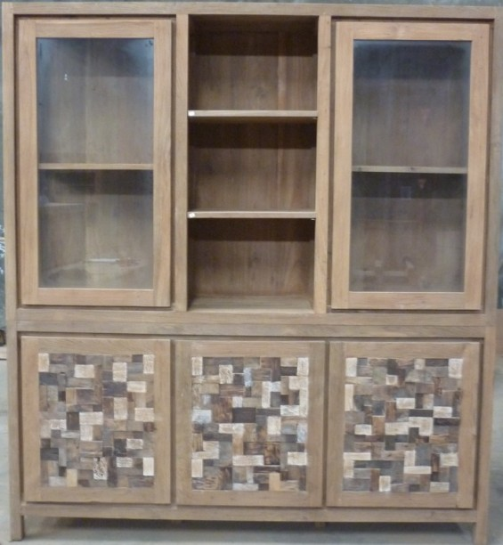 Double Mosaic Hardwood and Glass Display Cabinet