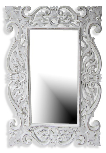 Carved White Mirror