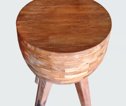 Round Finger joint Side Table