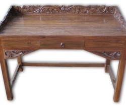 Recycled Teak desk with Carving-TRG023-N
