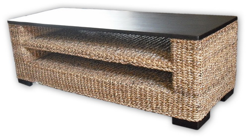 Woven Coffee Table with Timber Top