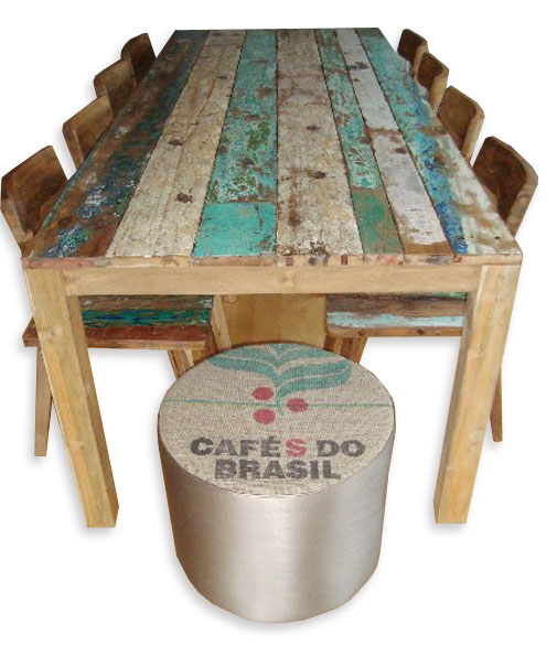 Old Boat Table with Old Boat Chairs