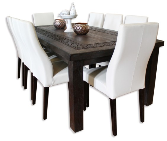 """Carved """"Celtic"""" Recycled Teak Dining Table"""