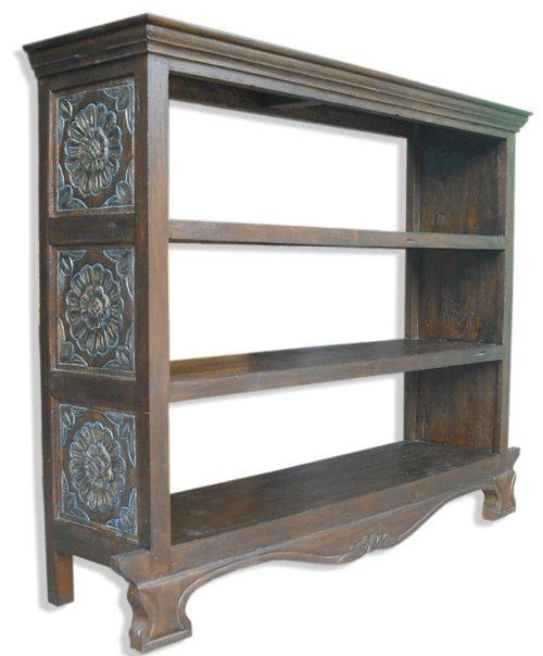 Recycled Timber Carved Book Case