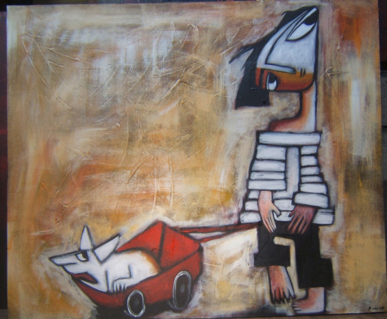Boy with dog in cart