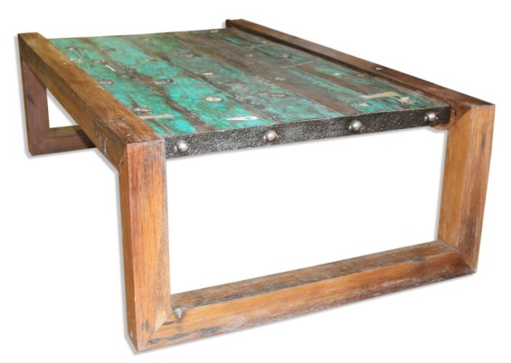 Old Boat Coffee Table with Metal Trim