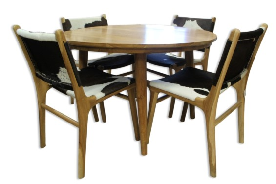 Raw Hide Chairs with Scandi Table